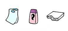 fólie, sáčky, plastové tašky, sešlápnuté PET láhve, obaly od pracích, čistících a kosmetických přípravků, kelímky od jogurtů, mléčných výrobků, balící fólie od spotřebního zboží, obaly od CD disků a další výrobky z plastů.