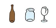Bíle a barevné sklo, skleněné lahve, zavařovací sklenice, výplně oken, tabulové sklo