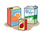 krabice od džusů, vína, mléka a mléčných výrobků